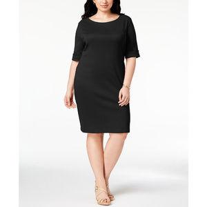 Karen Scott Plus Size T-Shirt Dress Deep Black 3X